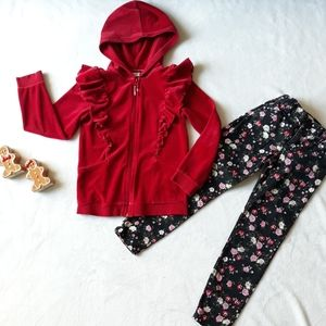 Girl's Red Velvet Ruffle Hoodie and Floral Jeans